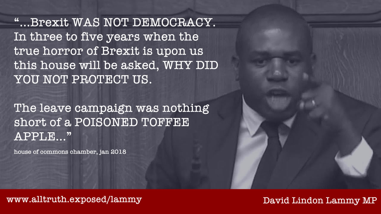 david lammy quote brexit not democracy poisoned toffee apple