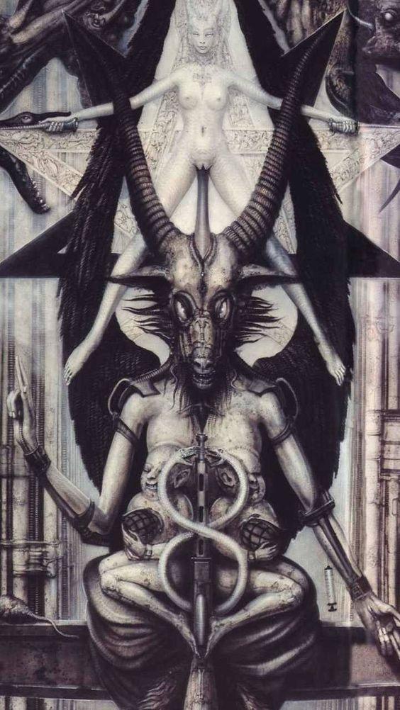 H R Giger Necromicon Baphomet Divine Feminity Witchcraft Demonism