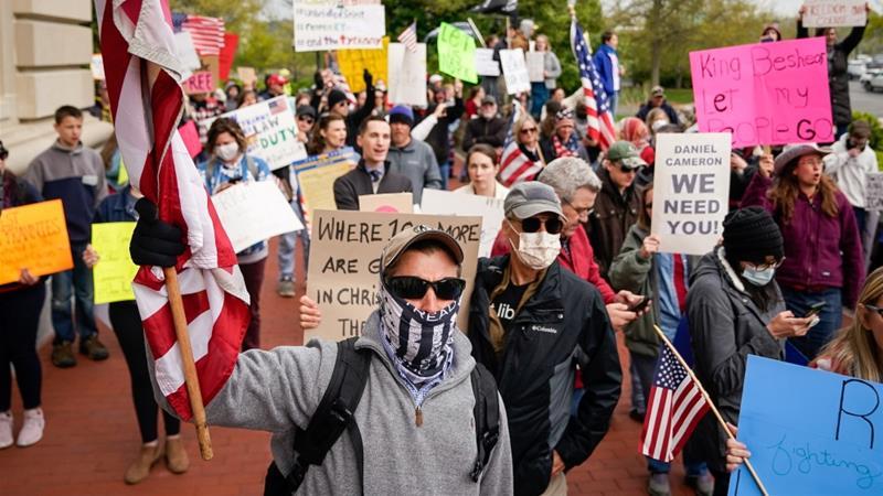 Corona Virus Lockdown Rebellions USA Donald Trump
